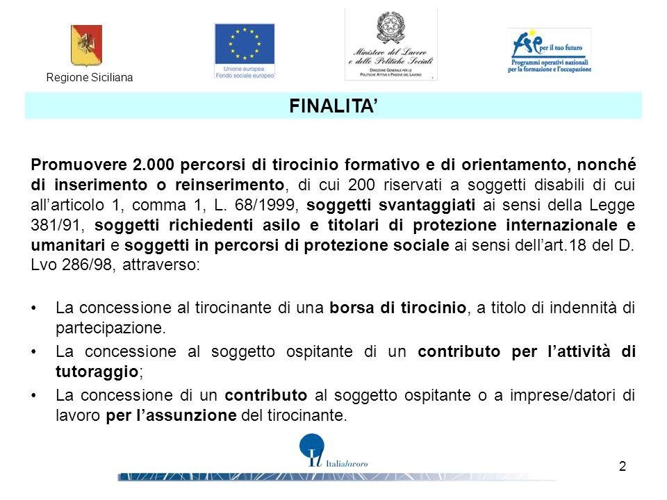 Regione Siciliana 2 FINALITA' Promuovere 2.000 percorsi di tirocinio formativo e di orientamento, nonché di inserimento o reinserimento, di cui 200 ri
