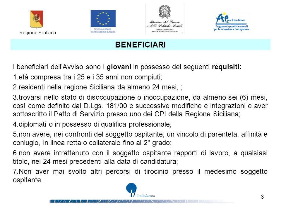 Regione Siciliana 3 BENEFICIARI I beneficiari dell'Avviso sono i giovani in possesso dei seguenti requisiti: 1.età compresa tra i 25 e i 35 anni non c