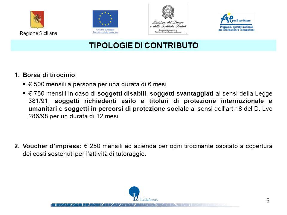 Regione Siciliana 6 TIPOLOGIE DI CONTRIBUTO 1.Borsa di tirocinio:  € 500 mensili a persona per una durata di 6 mesi  € 750 mensili in caso di sogget