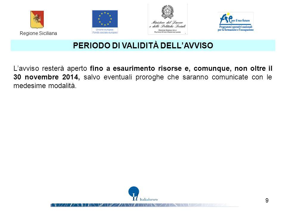 Regione Siciliana 9 PERIODO DI VALIDITÀ DELL'AVVISO L'avviso resterà aperto fino a esaurimento risorse e, comunque, non oltre il 30 novembre 2014, sal