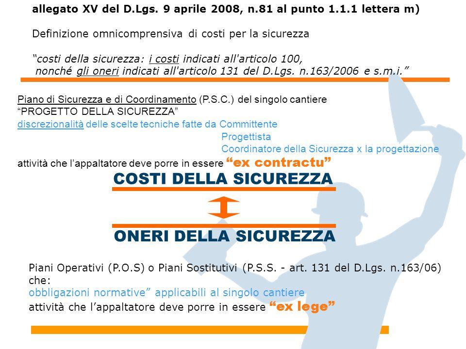 """allegato XV del D.Lgs. 9 aprile 2008, n.81 al punto 1.1.1 lettera m) Definizione omnicomprensiva di costi per la sicurezza """"costi della sicurezza: i c"""