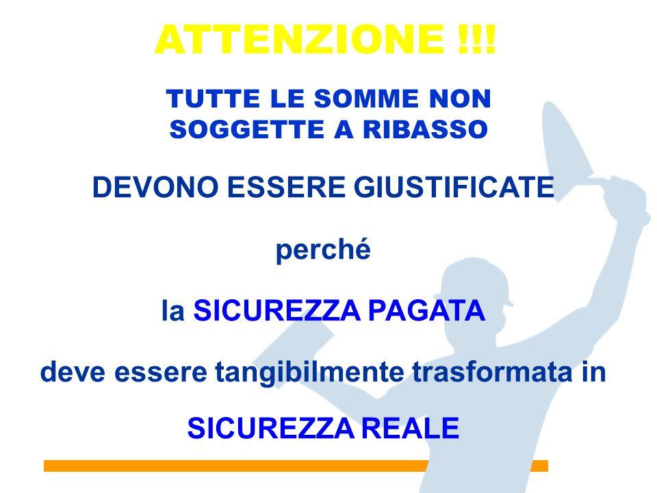 18 ATTENZIONE !!! DEVONO ESSERE GIUSTIFICATE perché la SICUREZZA PAGATA deve essere tangibilmente trasformata in SICUREZZA REALE TUTTE LE SOMME NON SO