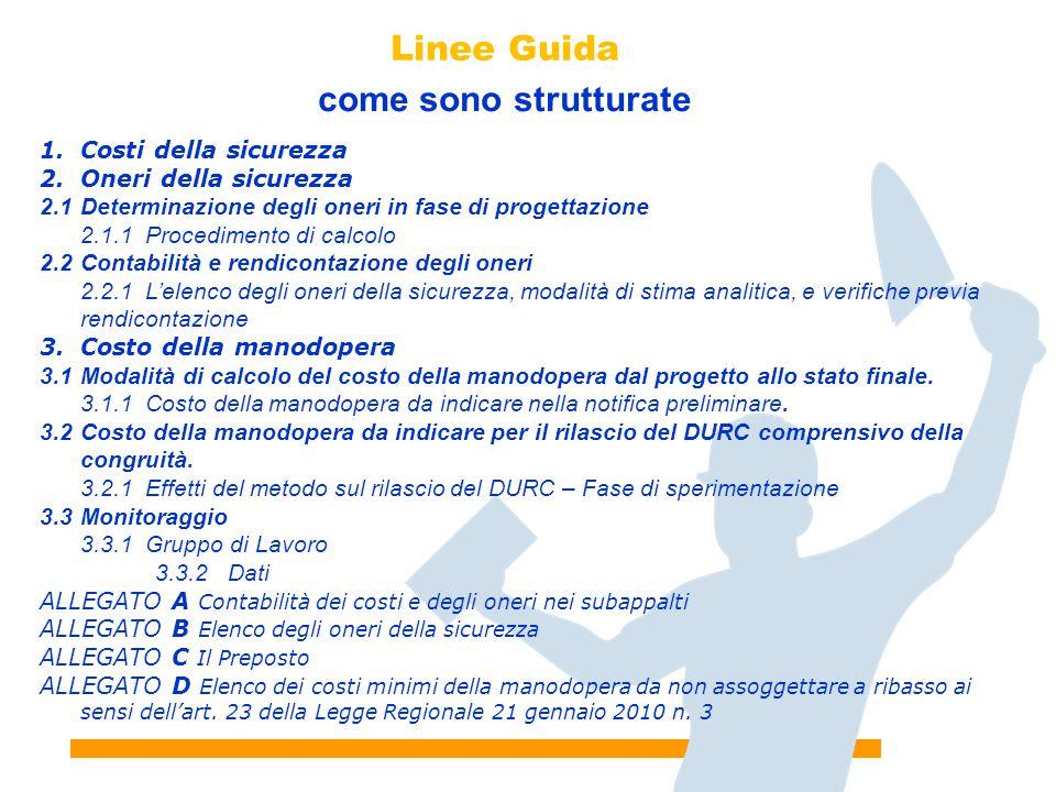 7 Linee Guida come sono strutturate 1.Costi della sicurezza 2.Oneri della sicurezza 2.1Determinazione degli oneri in fase di progettazione 2.1.1Proced