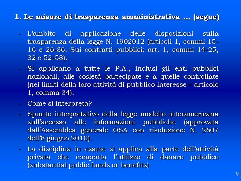 1. Le misure di trasparenza amministrativa … (segue) -L'ambito di applicazione delle disposizioni sulla trasparenza della legge N. 1902012 (articoli 1
