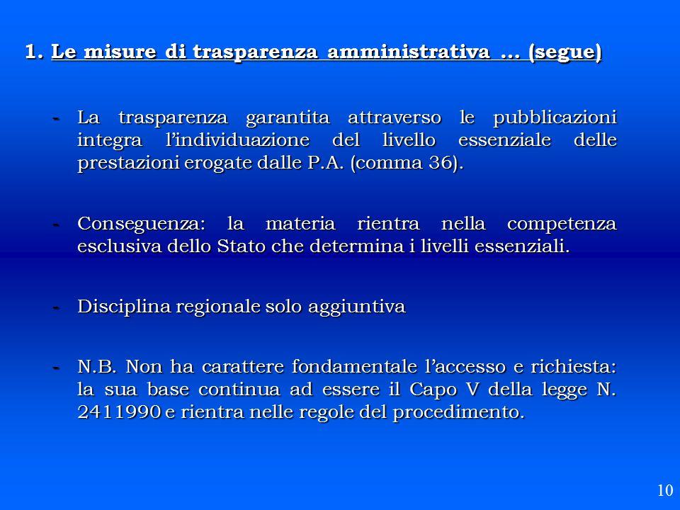 1. Le misure di trasparenza amministrativa … (segue) -La trasparenza garantita attraverso le pubblicazioni integra l'individuazione del livello essenz