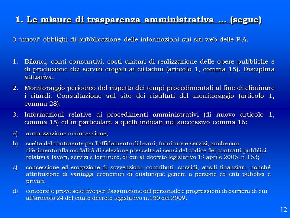 """3 """"nuovi"""" obblighi di pubblicazione delle informazioni sui siti web delle P.A. 1.Bilanci, conti consuntivi, costi unitari di realizzazione delle opere"""