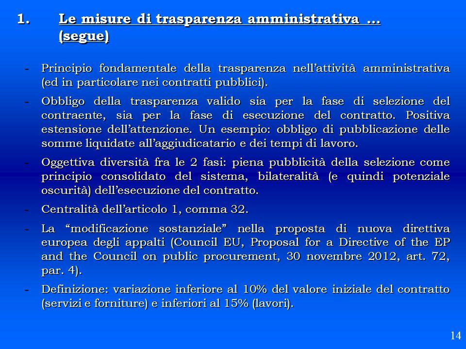 -Principio fondamentale della trasparenza nell'attività amministrativa (ed in particolare nei contratti pubblici). -Obbligo della trasparenza valido s