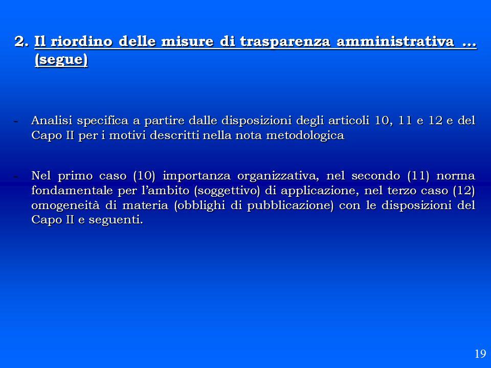 2. Il riordino delle misure di trasparenza amministrativa … (segue) -Analisi specifica a partire dalle disposizioni degli articoli 10, 11 e 12 e del C