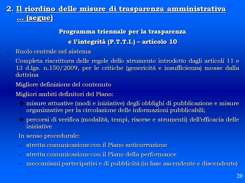 Programma triennale per la trasparenza e l'integrità (P.T.T.I.) – articolo 10 -Ruolo centrale nel sistema -Completa riscrittura delle regole dello str