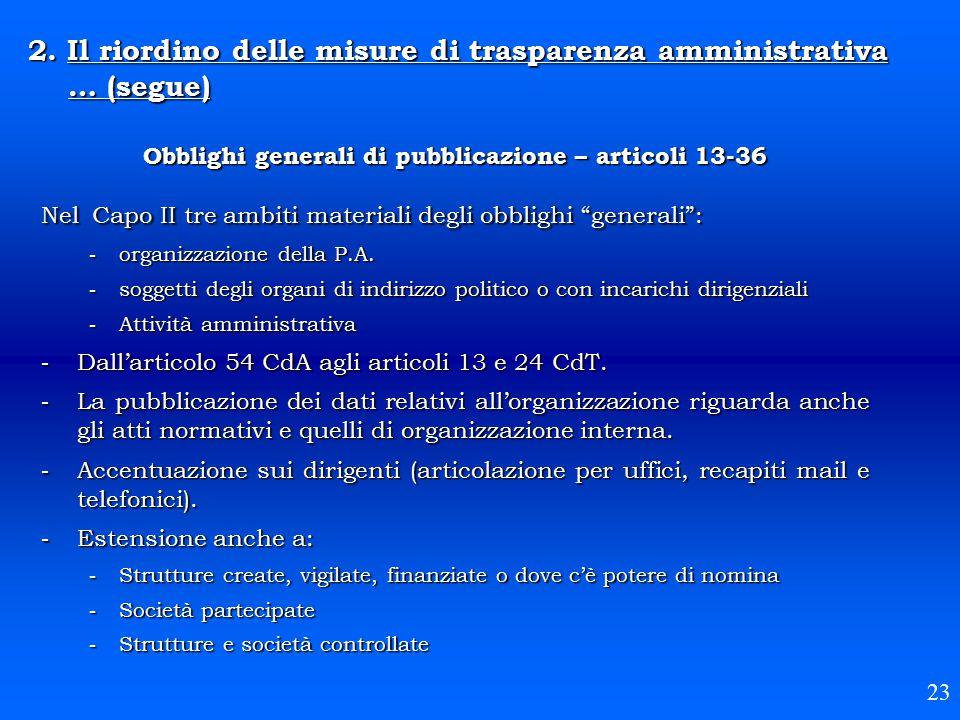 """Obblighi generali di pubblicazione – articoli 13-36 Nel Capo II tre ambiti materiali degli obblighi """"generali"""":  organizzazione della P.A.  soggetti"""