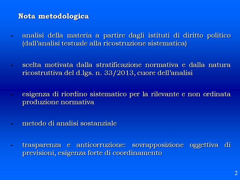 Nota metodologica -analisi della materia a partire dagli istituti di diritto politico (dall'analisi testuale alla ricostruzione sistematica) -scelta m