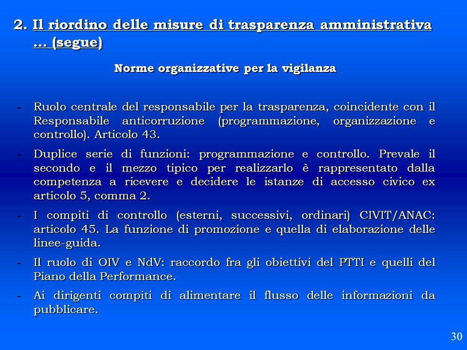 2. Il riordino delle misure di trasparenza amministrativa … (segue) 30 Norme organizzative per la vigilanza -Ruolo centrale del responsabile per la tr