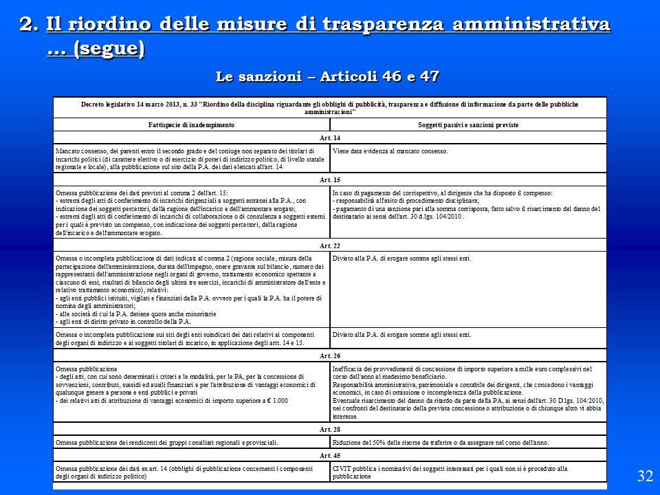 2. Il riordino delle misure di trasparenza amministrativa … (segue) Le sanzioni – Articoli 46 e 47 32