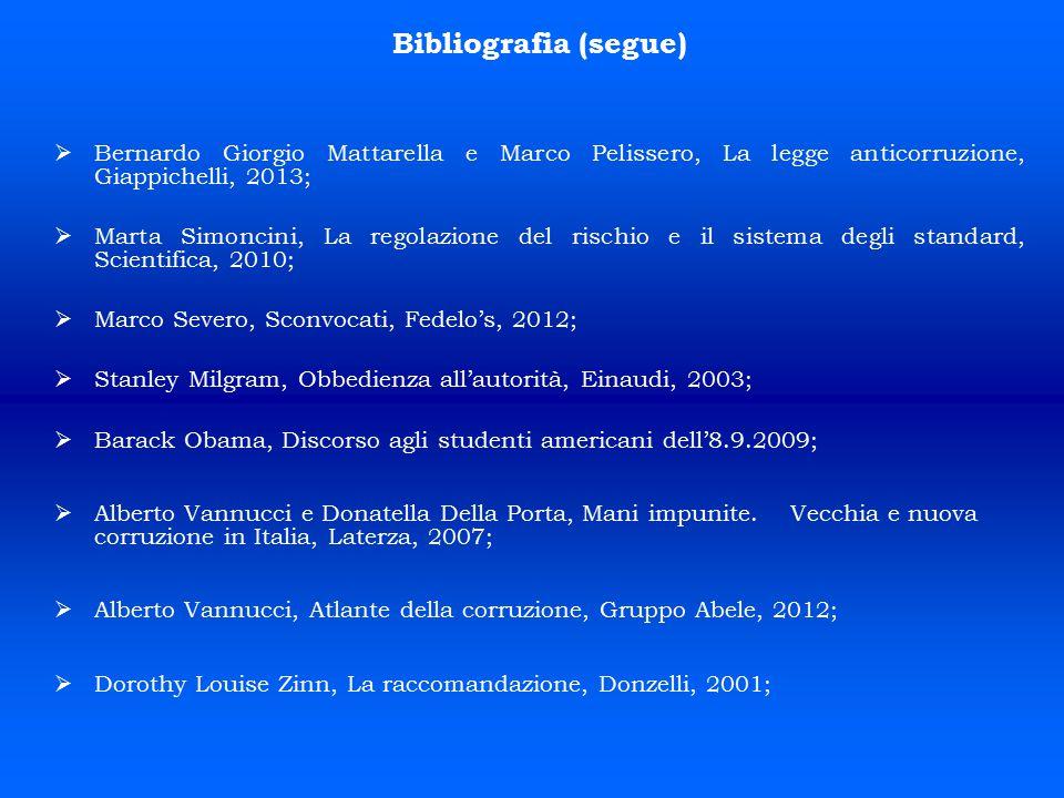 Bibliografia (segue)   Bernardo Giorgio Mattarella e Marco Pelissero, La legge anticorruzione, Giappichelli, 2013;   Marta Simoncini, La regolazio