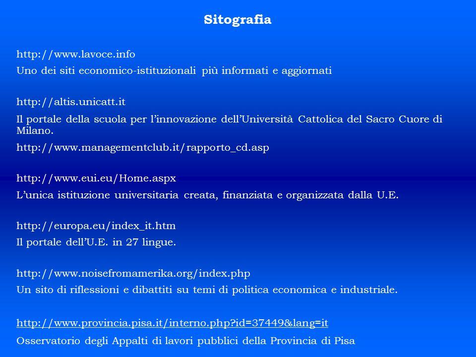 Sitografia http://www.lavoce.info Uno dei siti economico-istituzionali più informati e aggiornati http://altis.unicatt.it Il portale della scuola per