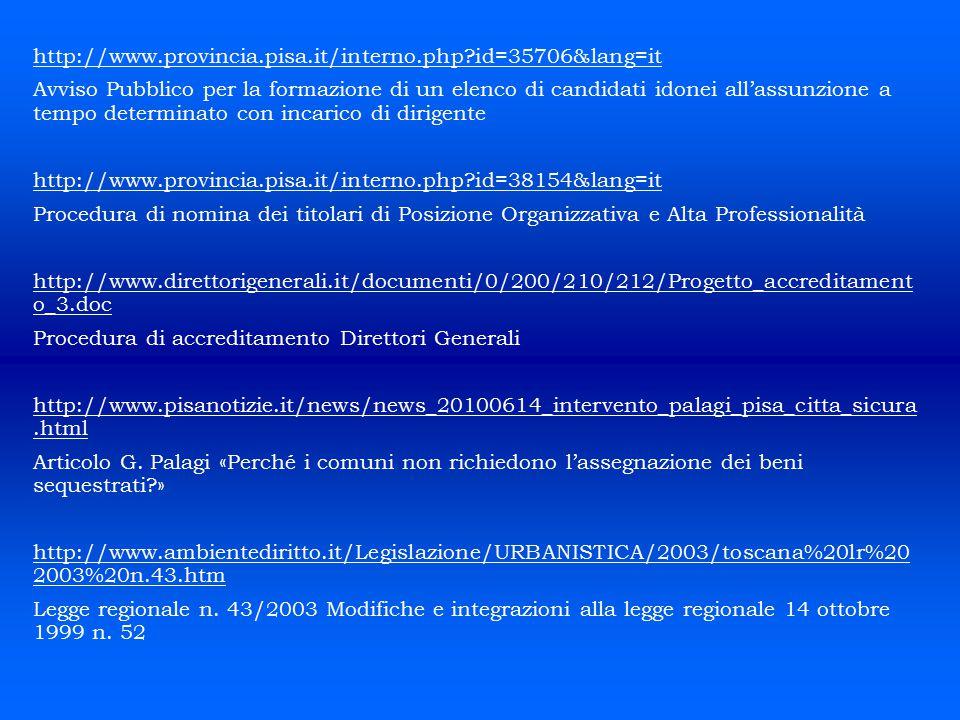http://www.provincia.pisa.it/interno.php?id=35706&lang=it Avviso Pubblico per la formazione di un elenco di candidati idonei all'assunzione a tempo de