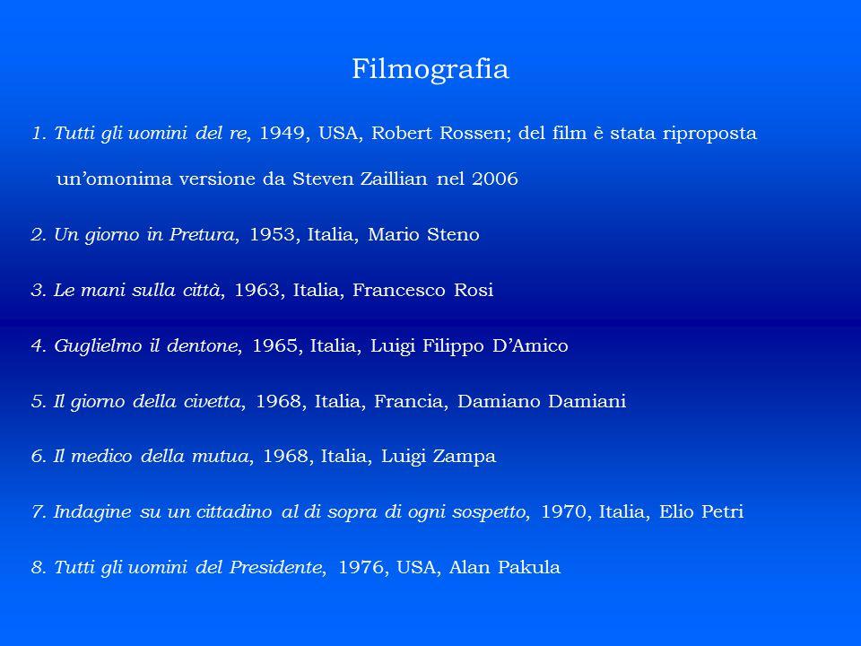 Filmografia 1. Tutti gli uomini del re, 1949, USA, Robert Rossen; del film è stata riproposta un'omonima versione da Steven Zaillian nel 2006 2. Un gi