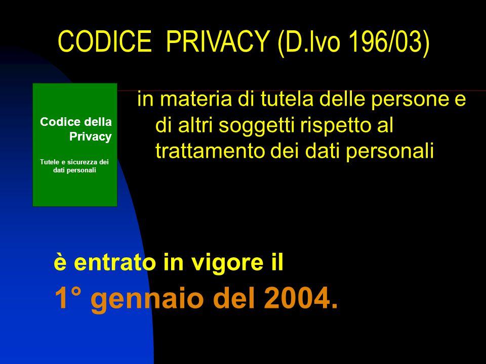 CODICE PRIVACY (D.lvo 196/03) è entrato in vigore il 1° gennaio del 2004.