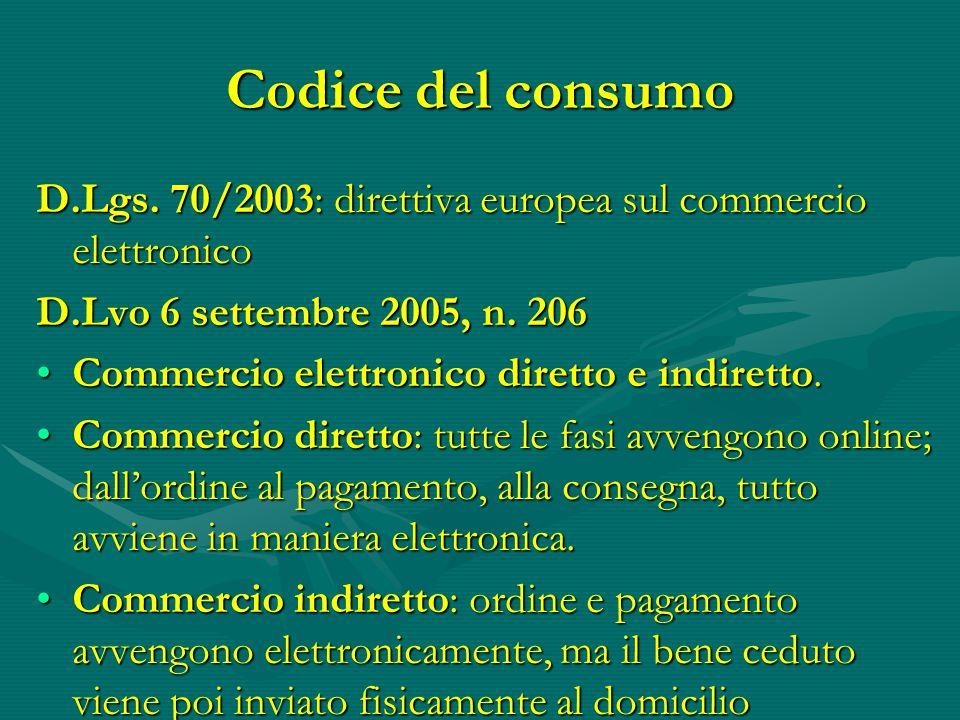 Codice del consumo D.Lgs.