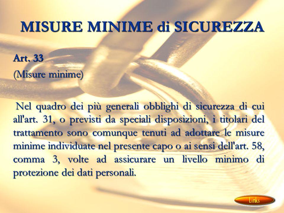 MISURE MINIME di SICUREZZA Art.