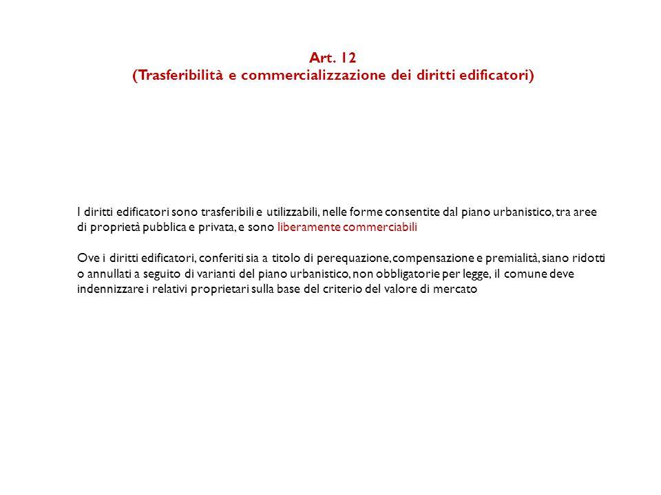 Art. 12 (Trasferibilità e commercializzazione dei diritti edificatori) I diritti edificatori sono trasferibili e utilizzabili, nelle forme consentite