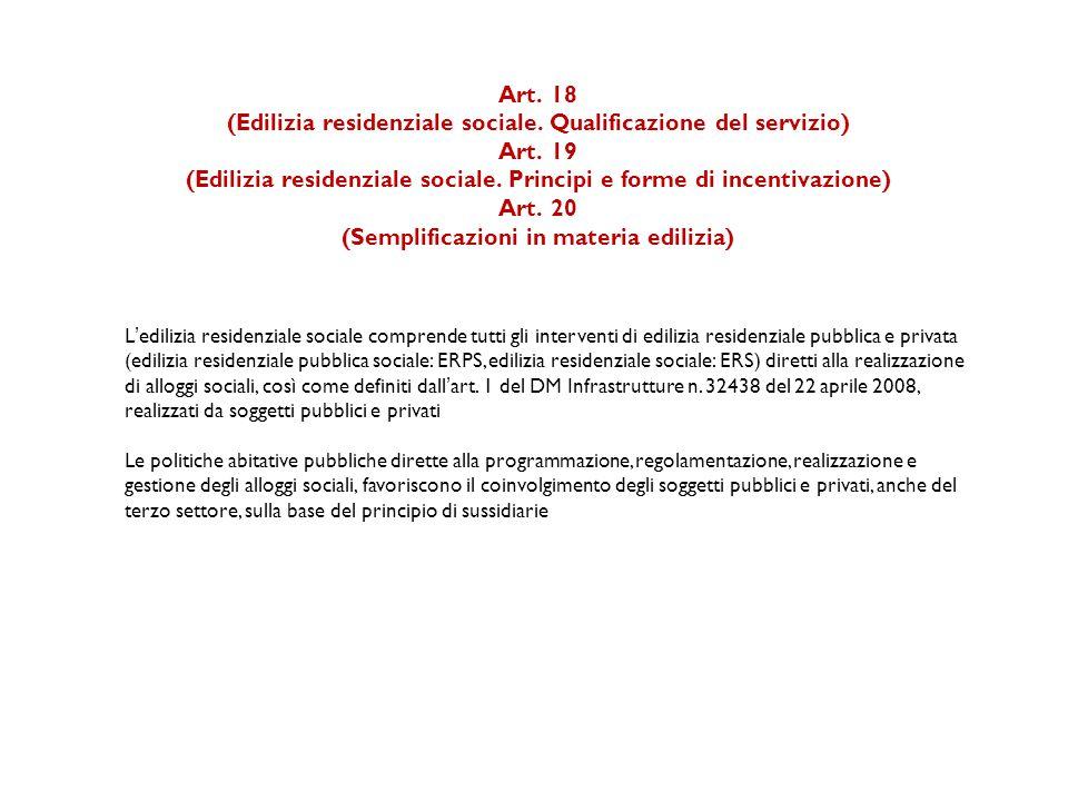 Art.18 (Edilizia residenziale sociale. Qualificazione del servizio) Art.