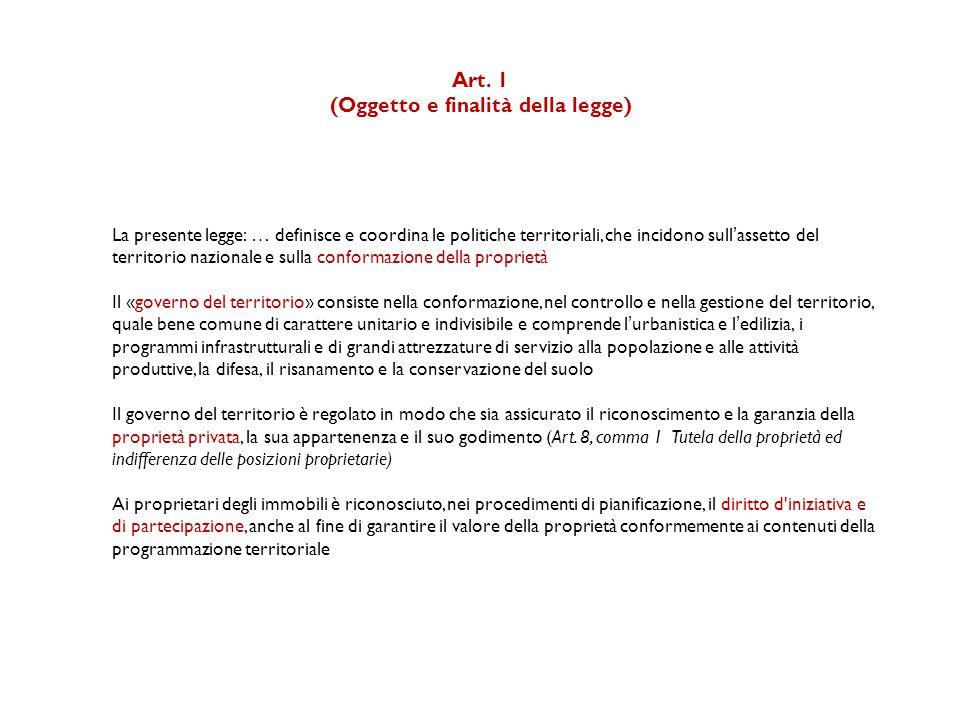 Art. 1 (Oggetto e finalità della legge) La presente legge: … definisce e coordina le politiche territoriali, che incidono sull'assetto del territorio
