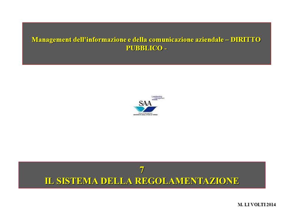 7 IL SISTEMA DELLA REGOLAMENTAZIONE Management dell informazione e della comunicazione aziendale – DIRITTO PUBBLICO - M.