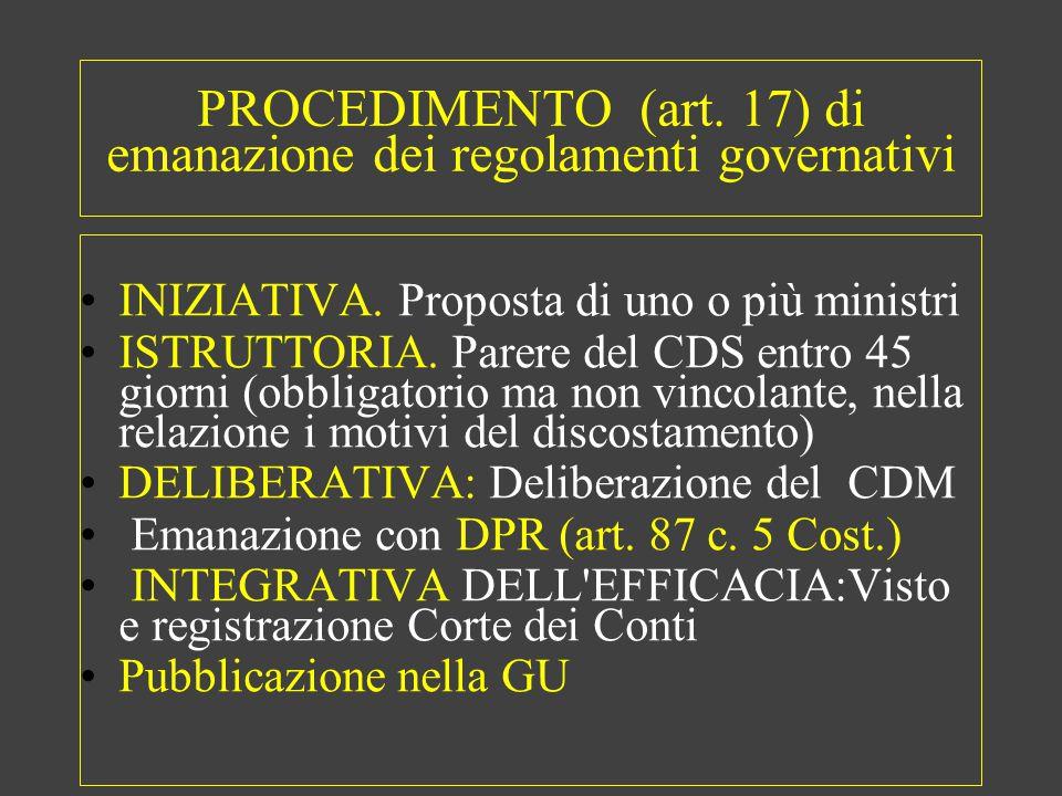 PROCEDIMENTO (art. 17) di emanazione dei regolamenti governativi INIZIATIVA.