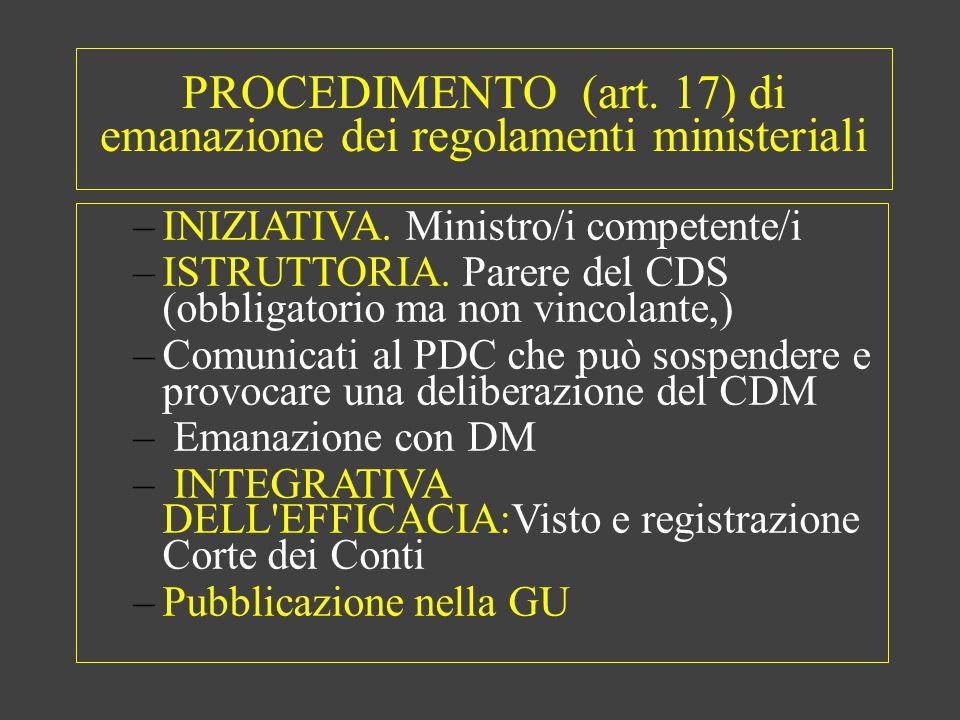 PROCEDIMENTO (art. 17) di emanazione dei regolamenti ministeriali –INIZIATIVA.