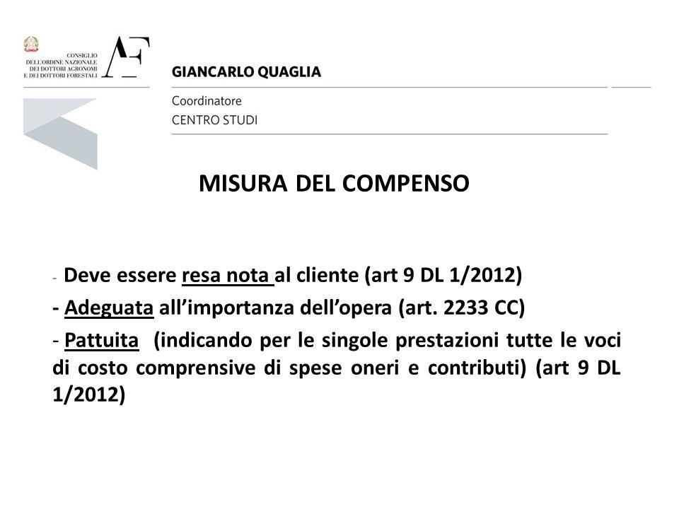 MISURA DEL COMPENSO - Deve essere resa nota al cliente (art 9 DL 1/2012) - Adeguata all'importanza dell'opera (art. 2233 CC) - Pattuita (indicando per