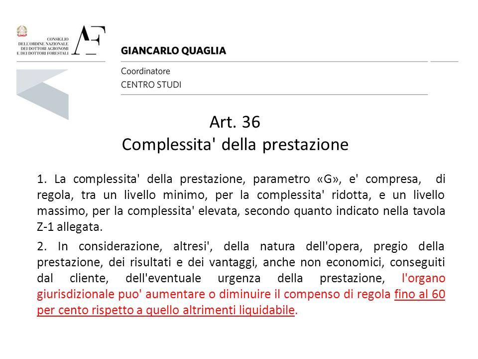 Art. 36 Complessita' della prestazione 1. La complessita' della prestazione, parametro «G», e' compresa, di regola, tra un livello minimo, per la comp