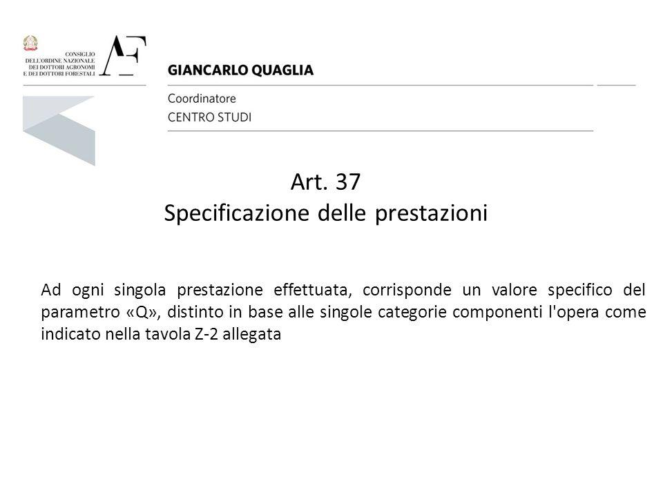 Art. 37 Specificazione delle prestazioni Ad ogni singola prestazione effettuata, corrisponde un valore specifico del parametro «Q», distinto in base a