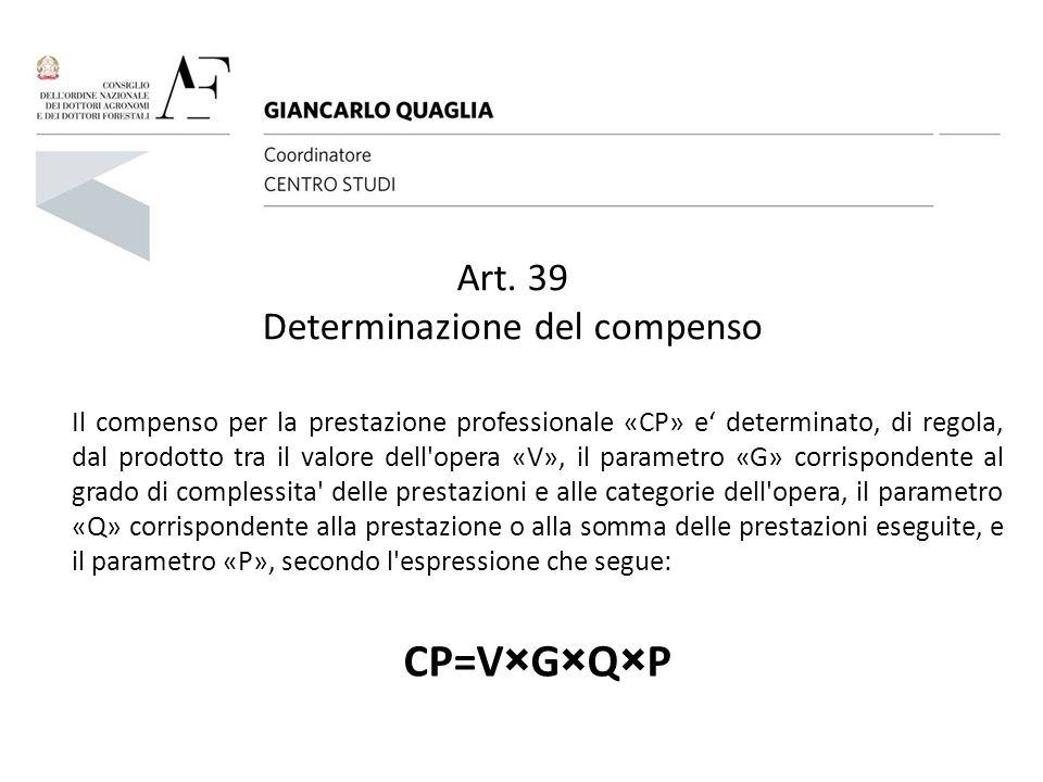 Art. 39 Determinazione del compenso Il compenso per la prestazione professionale «CP» e' determinato, di regola, dal prodotto tra il valore dell'opera