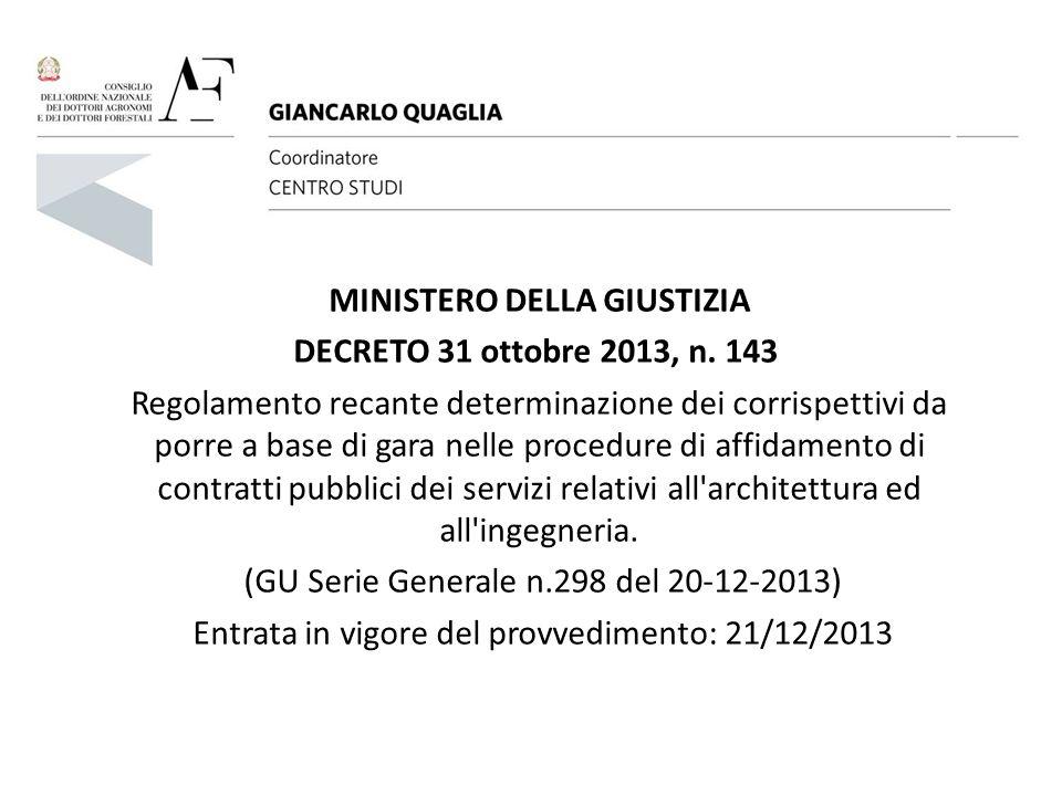 MINISTERO DELLA GIUSTIZIA DECRETO 31 ottobre 2013, n. 143 Regolamento recante determinazione dei corrispettivi da porre a base di gara nelle procedure