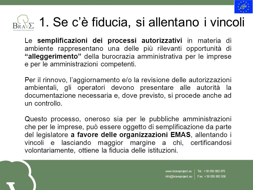 1. Se c'è fiducia, si allentano i vincoli Le semplificazioni dei processi autorizzativi in materia di ambiente rappresentano una delle più rilevanti o