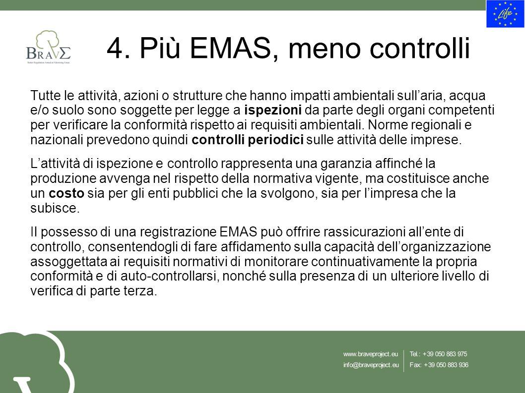 4. Più EMAS, meno controlli Tutte le attività, azioni o strutture che hanno impatti ambientali sull'aria, acqua e/o suolo sono soggette per legge a is