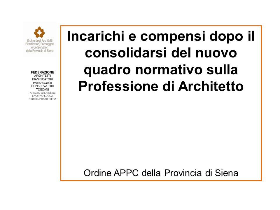 Incarichi e compensi dopo il consolidarsi del nuovo quadro normativo sulla Professione di Architetto Ordine APPC della Provincia di Siena