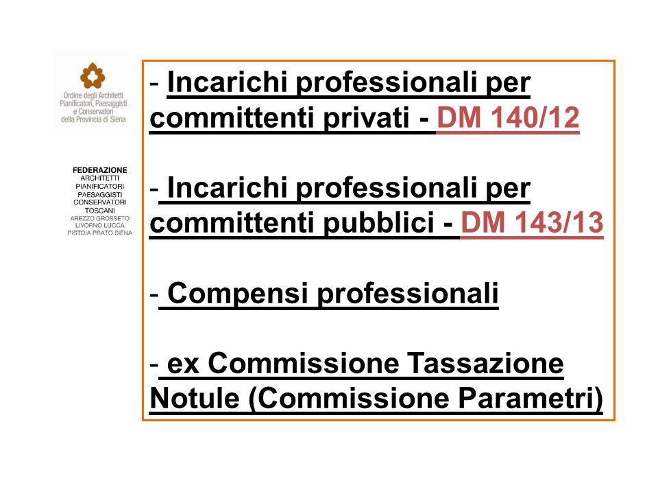 - Incarichi professionali per committenti privati - DM 140/12 - Incarichi professionali per committenti pubblici - DM 143/13 - Compensi professionali - ex Commissione Tassazione Notule (Commissione Parametri)