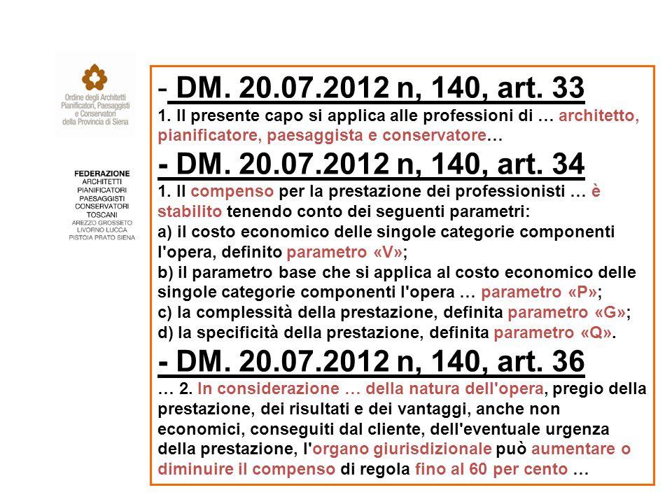 - DM. 20.07.2012 n, 140, art. 33 1.