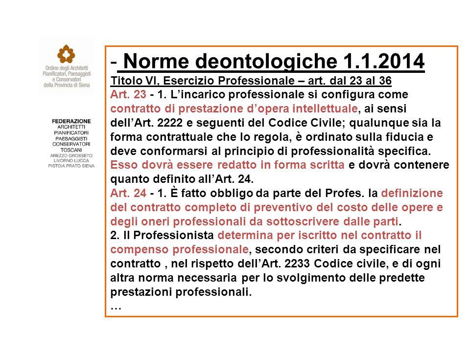 - Norme deontologiche 1.1.2014 Titolo VI, Esercizio Professionale – art.