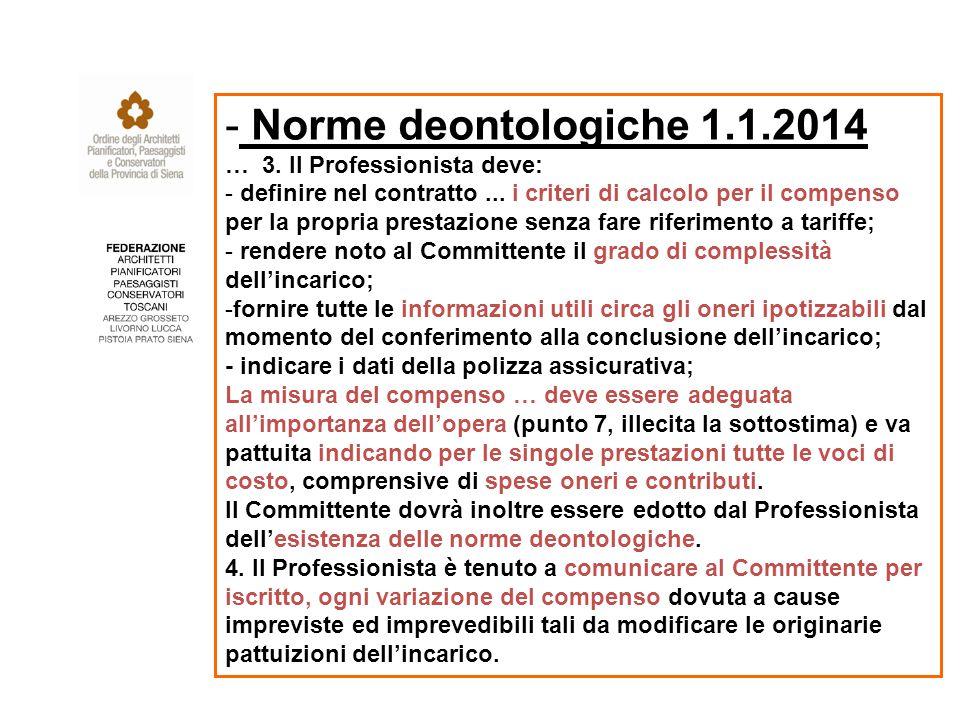 - Norme deontologiche 1.1.2014 … 3. Il Professionista deve: - definire nel contratto...