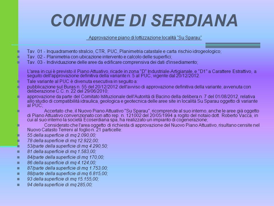 """COMUNE DI SERDIANA Approvazione piano di lottizzazione località """"Su Sparau"""" Tav. 01 - Inquadramento stralcio, CTR, PUC, Planimetria catastale e carta"""