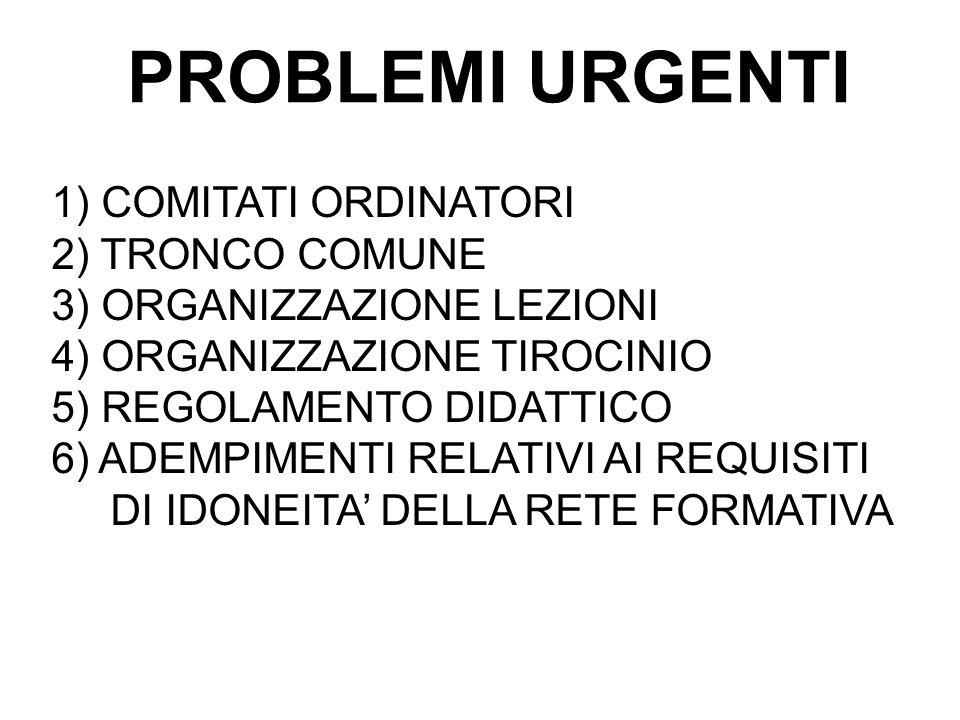 PROBLEMI URGENTI 1) COMITATI ORDINATORI 2) TRONCO COMUNE 3) ORGANIZZAZIONE LEZIONI 4) ORGANIZZAZIONE TIROCINIO 5) REGOLAMENTO DIDATTICO 6) ADEMPIMENTI RELATIVI AI REQUISITI DI IDONEITA' DELLA RETE FORMATIVA