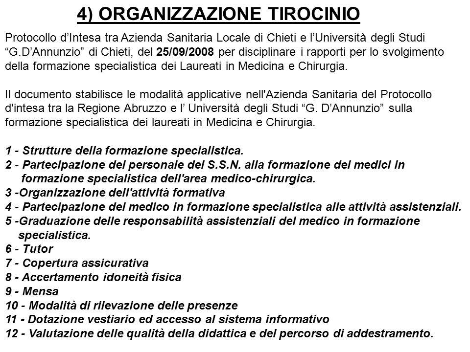 Protocollo d'Intesa tra Azienda Sanitaria Locale di Chieti e l'Università degli Studi G.D'Annunzio di Chieti, del 25/09/2008 per disciplinare i rapporti per lo svolgimento della formazione specialistica dei Laureati in Medicina e Chirurgia.