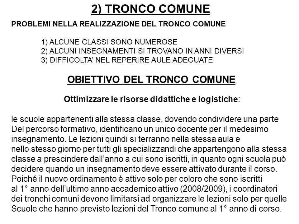 2) TRONCO COMUNE PROBLEMI NELLA REALIZZAZIONE DEL TRONCO COMUNE 1) ALCUNE CLASSI SONO NUMEROSE 2) ALCUNI INSEGNAMENTI SI TROVANO IN ANNI DIVERSI 3) DIFFICOLTA' NEL REPERIRE AULE ADEGUATE OBIETTIVO DEL TRONCO COMUNE Ottimizzare le risorse didattiche e logistiche: le scuole appartenenti alla stessa classe, dovendo condividere una parte Del percorso formativo, identificano un unico docente per il medesimo insegnamento.