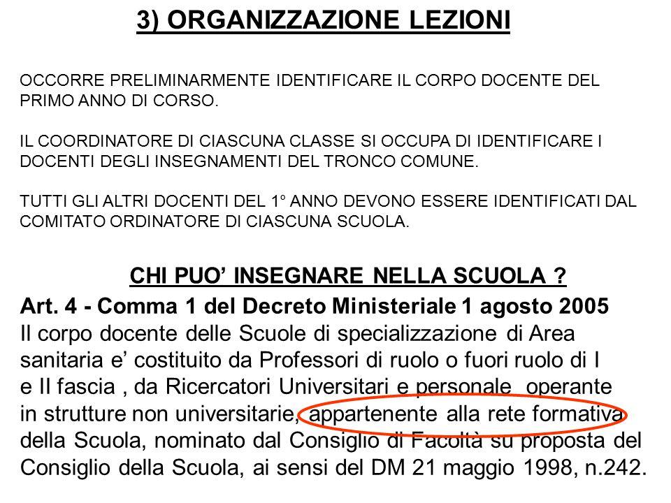3) ORGANIZZAZIONE LEZIONI OCCORRE PRELIMINARMENTE IDENTIFICARE IL CORPO DOCENTE DEL PRIMO ANNO DI CORSO.