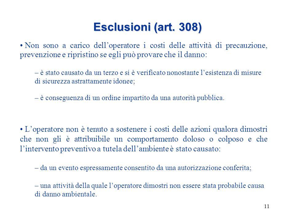 11 Esclusioni (art. 308) Non sono a carico dell'operatore i costi delle attività di precauzione, prevenzione e ripristino se egli può provare che il d