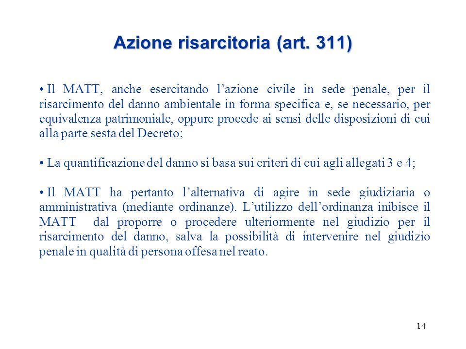 14 Azione risarcitoria (art. 311) Il MATT, anche esercitando l'azione civile in sede penale, per il risarcimento del danno ambientale in forma specifi