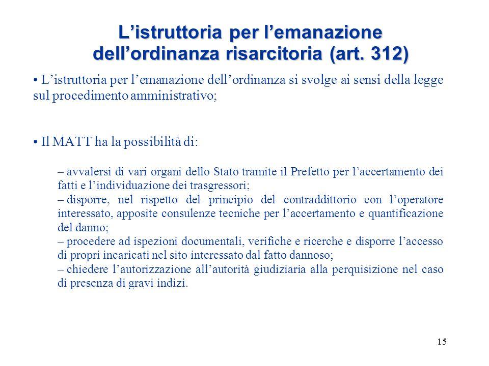 15 L'istruttoria per l'emanazione dell'ordinanza risarcitoria (art. 312) L'istruttoria per l'emanazione dell'ordinanza si svolge ai sensi della legge